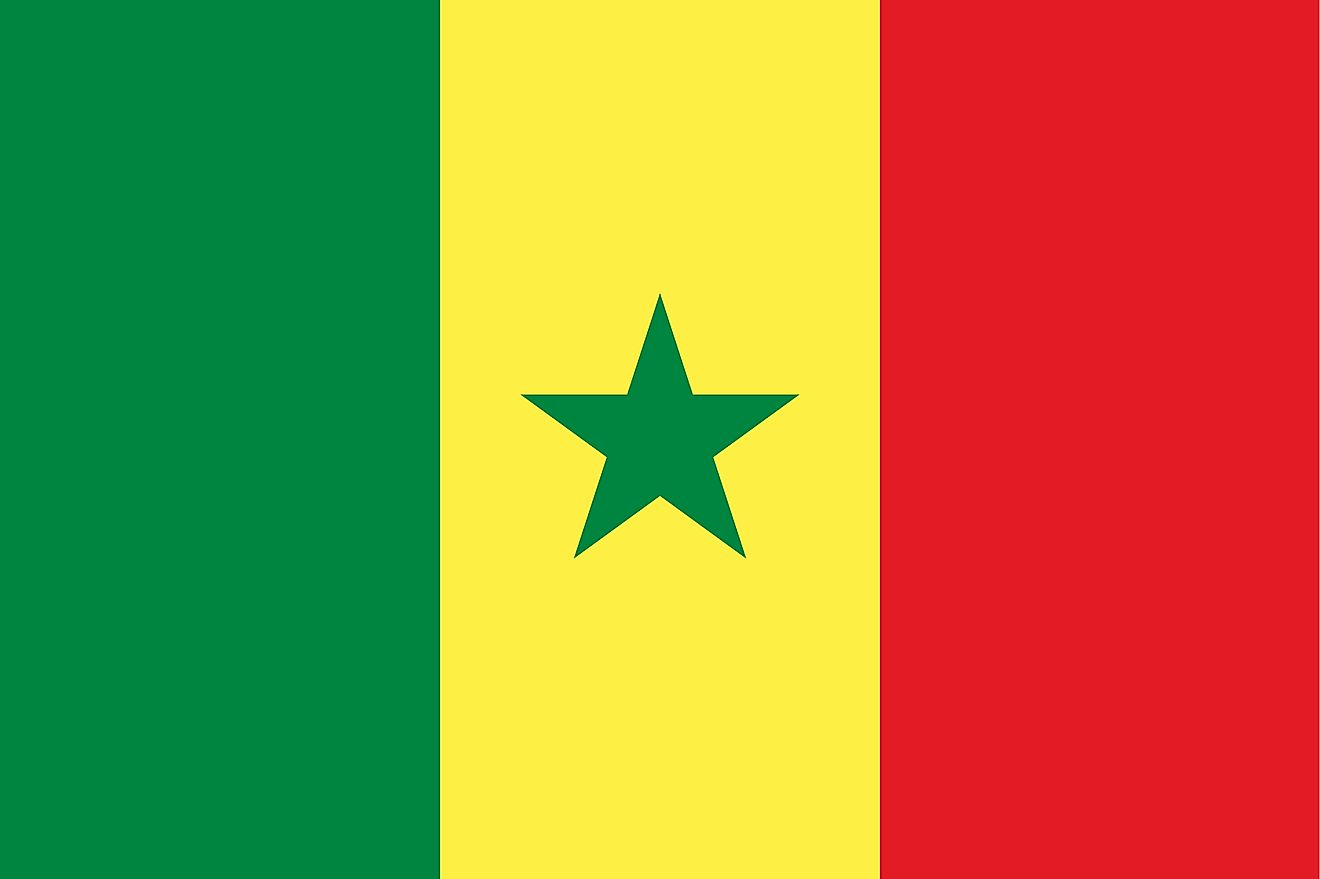 The National Flag of Senegal is a tricolor and features three equal vertical bands of green (hoist side), yellow, and red with a small green five-pointed star centered in the yellow band.
