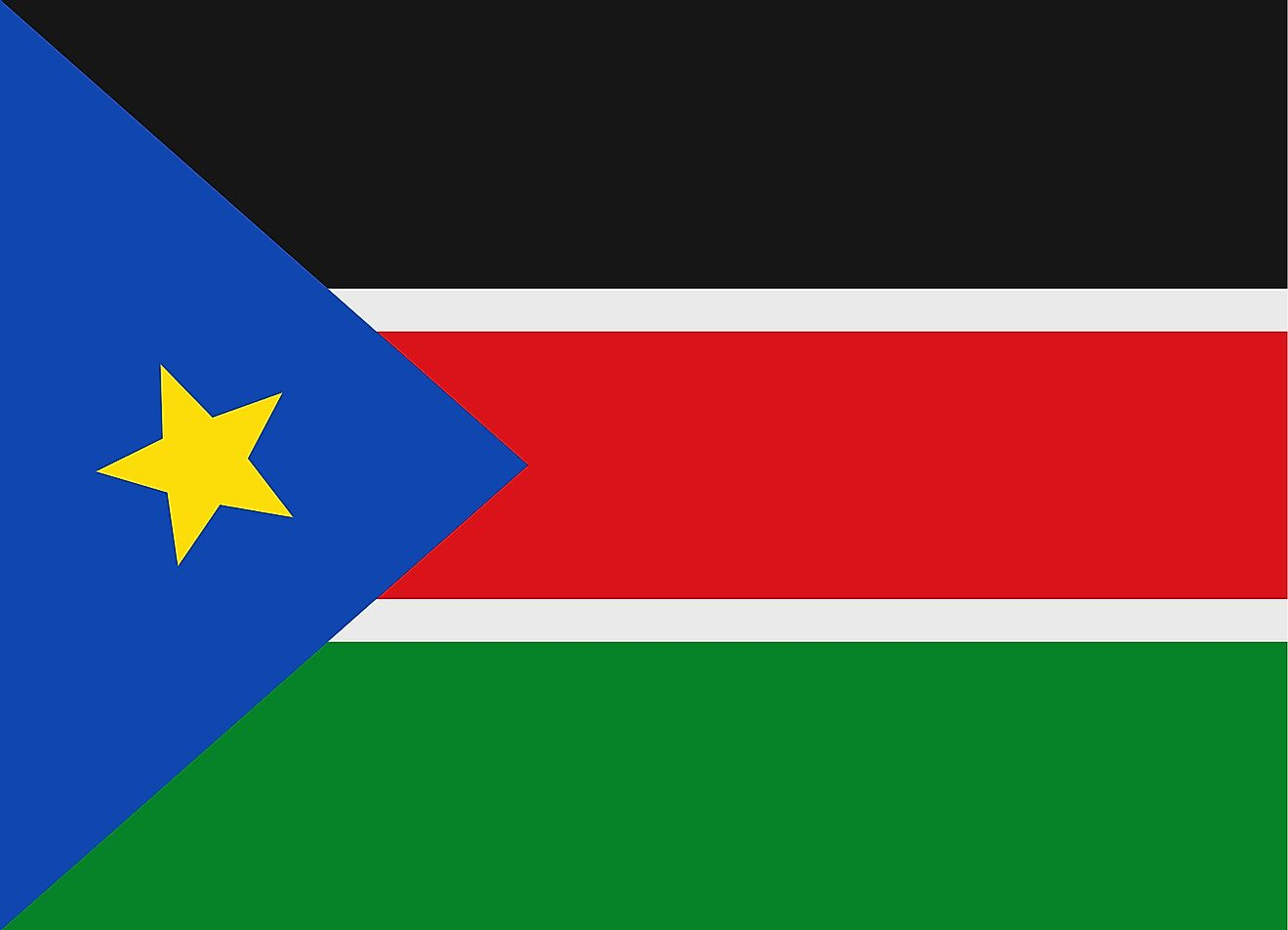 The National Flag of South Sudan featured three equal horizontal bands of black (top), red, and green. The red band is edged in white and a blue isosceles triangle is based on the hoist side of the flag containing a gold, five-pointed star.