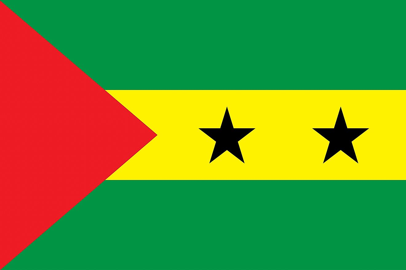 The National Flag of Sao Tome and Principe features three horizontal bands of the Pan-African colors:  green (top), yellow (double width), and green.