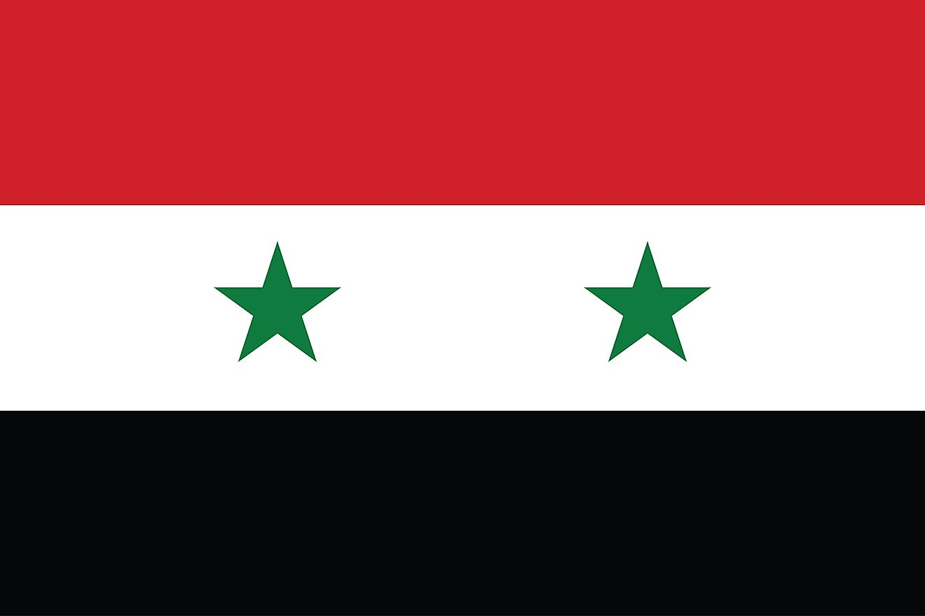 The National Flag of the Syrian Arab Republic features three equal horizontal bands of red (top), white, and black; with two small green stars centered on the white band.