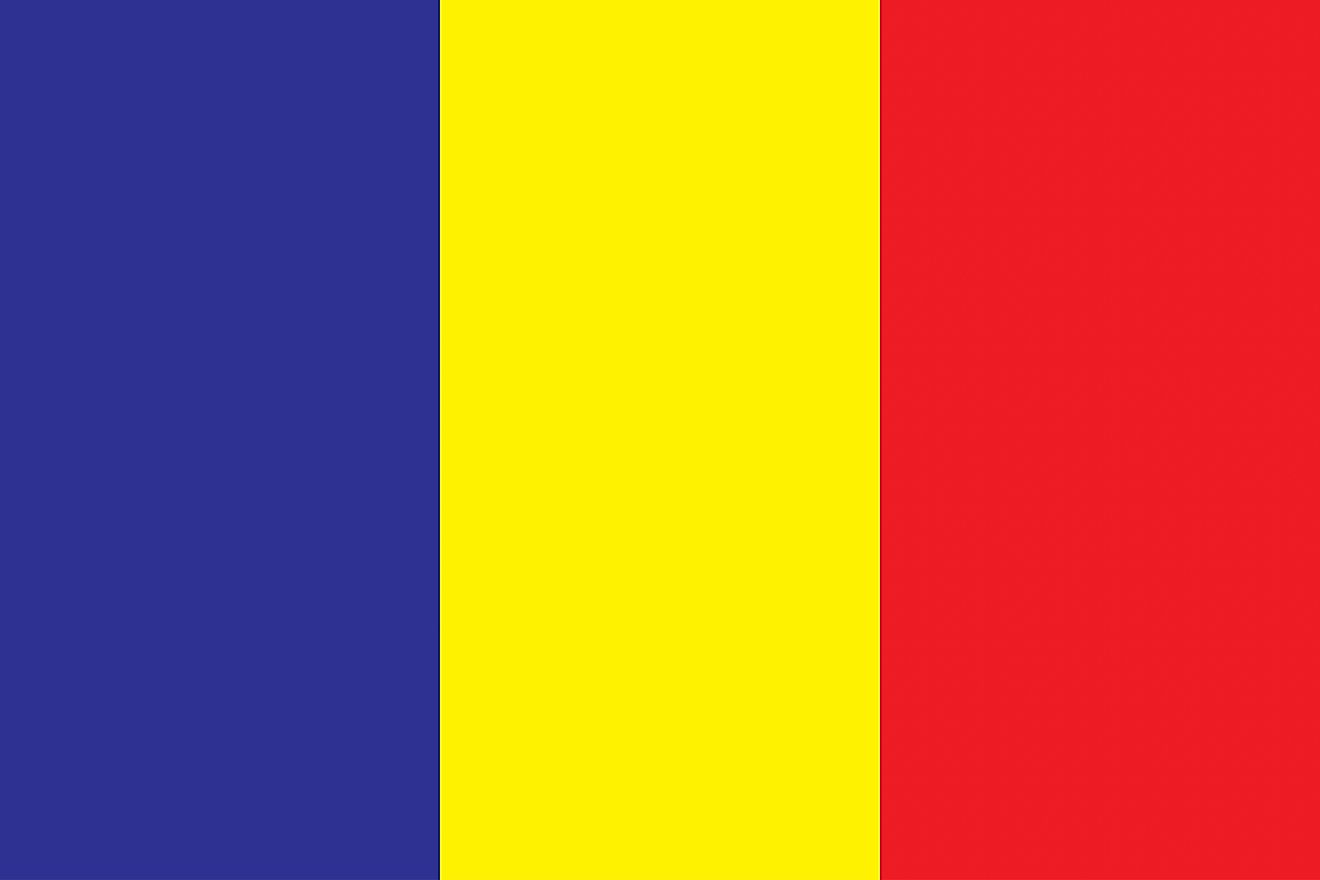 The National Flag of Chad features three equal vertical bands of blue (hoist side), gold, and red.