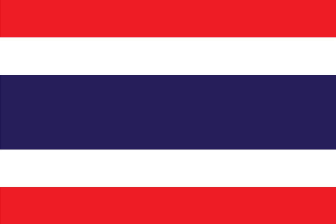 The National Flag of Thailand features five horizontal bands of red (top), white, blue (double width), white, and red.