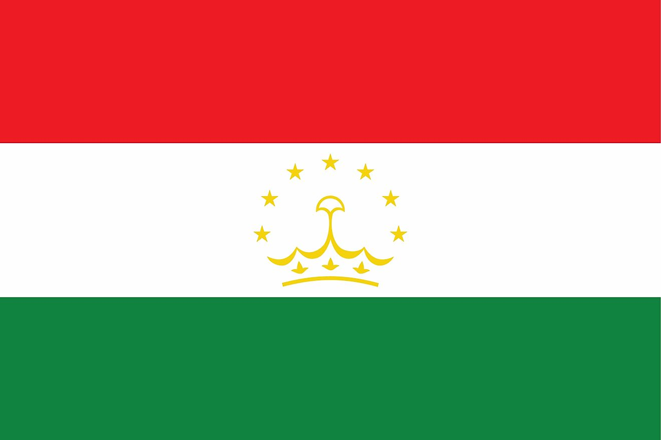 The National Flag of Tajikistan is a tricolor featuring three horizontal bands of red (top), white (middle), and green (bottom).