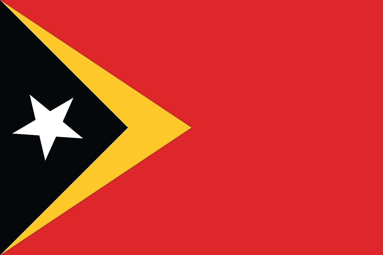 The national flag of Timor-Leste featuring a red field with a  black isosceles triangle with a white star on the hoist side superimposing a larger yellow triangle.