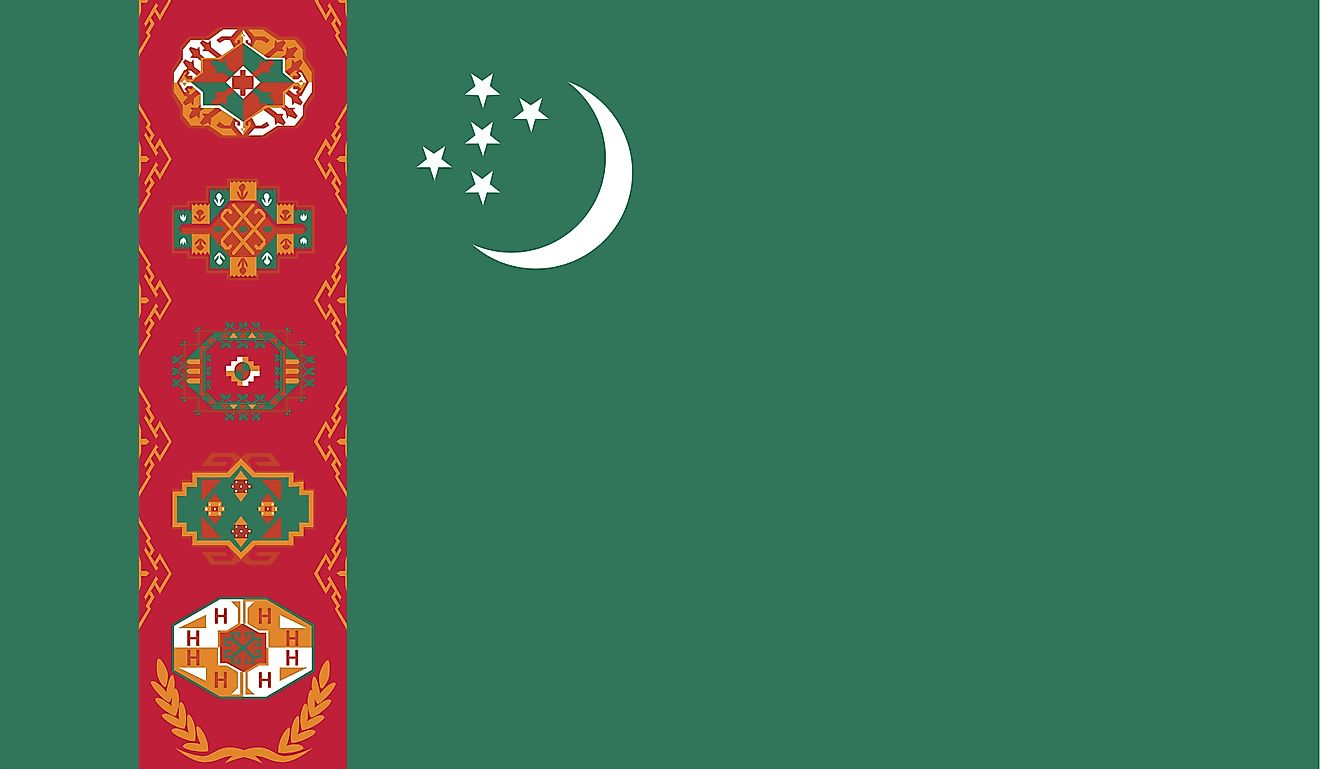 The National Flag of Turkmenistan features a green field with a red stripe placed vertically towards the hoist side of the flag.