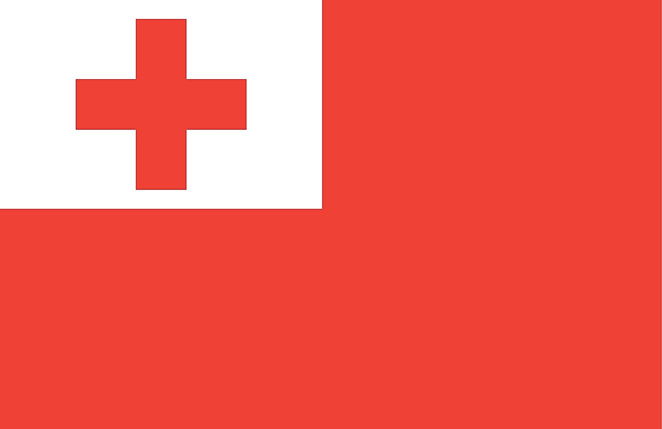 The National Flag of Tonga features a red background with a bold Greek red cross on a white rectangle in the upper hoist-side corner.