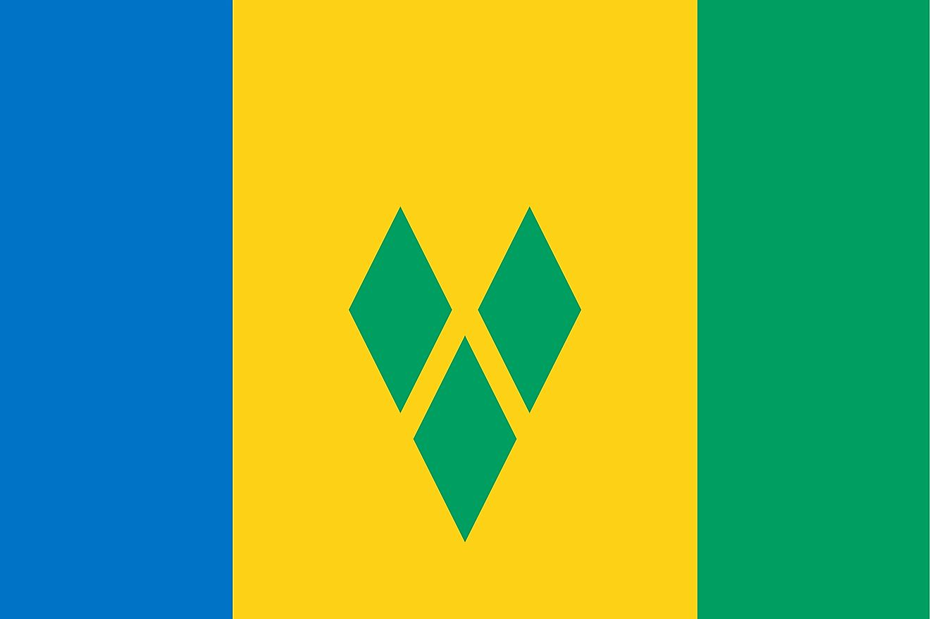 The National Flag of St. Vincent and the Grenadines is a vertical tricolor and features three vertical bands of blue (hoist side), gold (double width), and green, with three green diamonds arranged in a V pattern on the gold band.