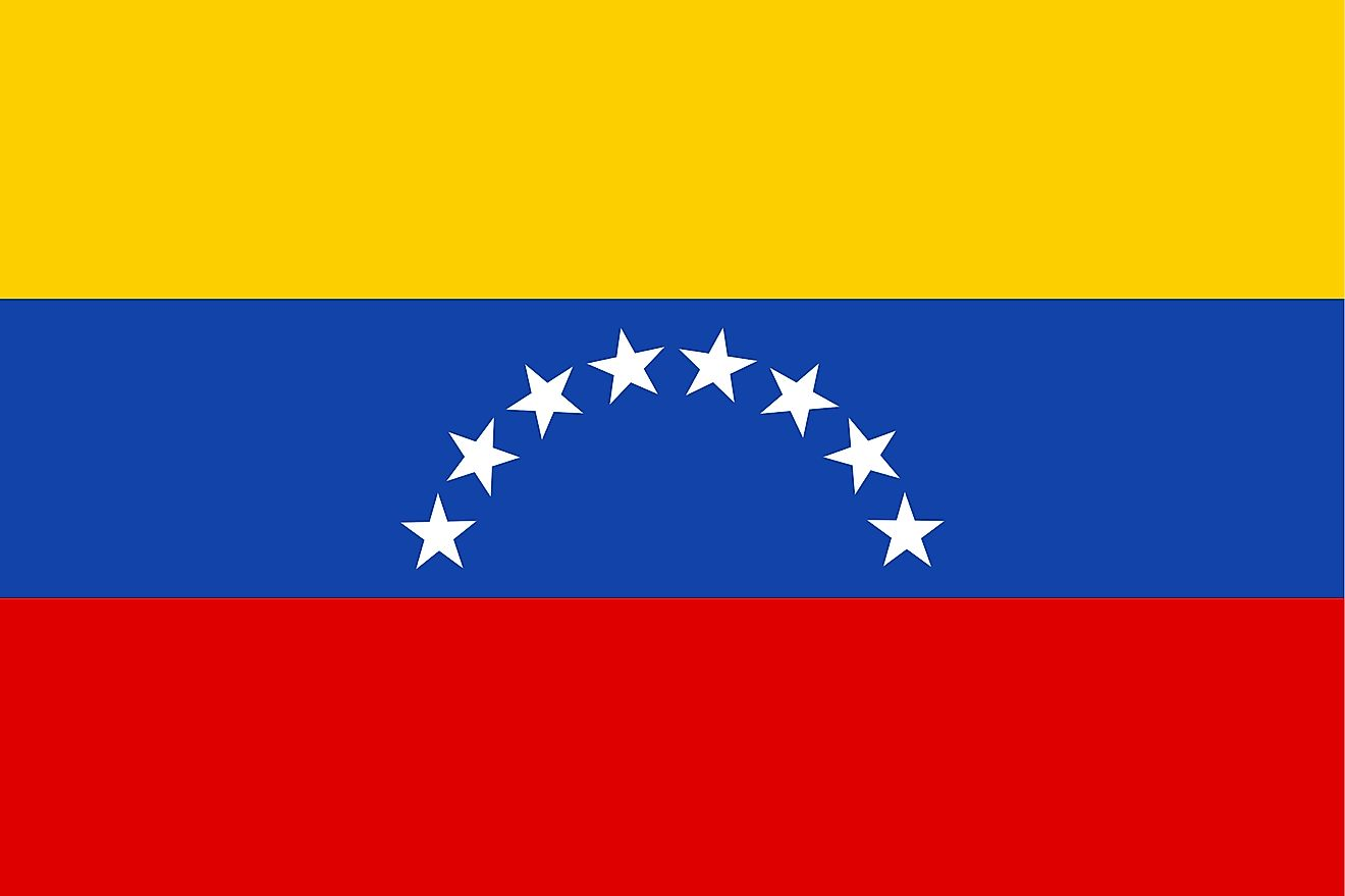 The National Flag of Venezuela featured three equal horizontal bands of yellow (top), blue, and red; with the coat of arms on the hoist side of the yellow band and an arc of eight white five-pointed stars centered in the blue band.