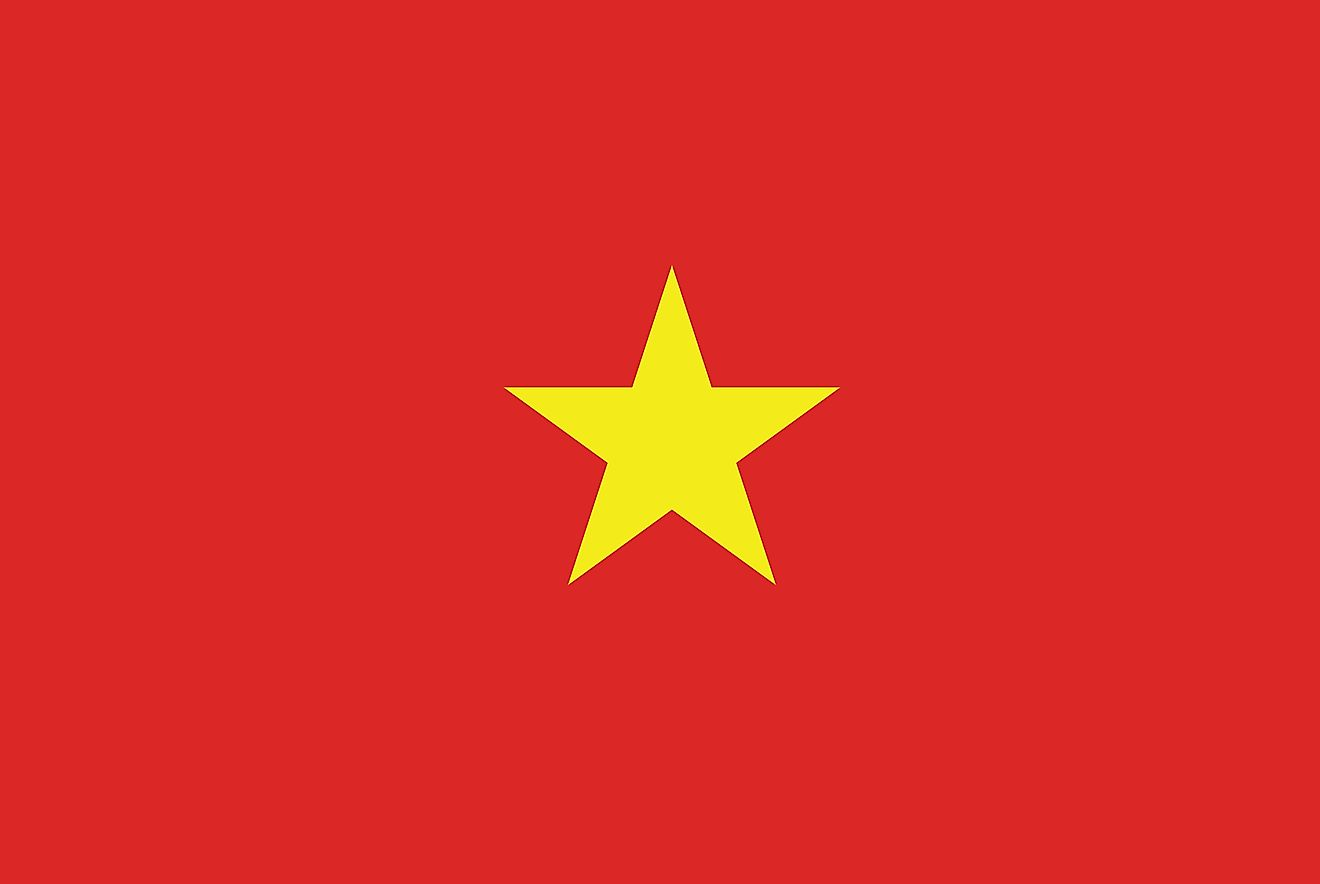The National Flag of Vietnam features a red background with a large yellow five-pointed star placed in the center.