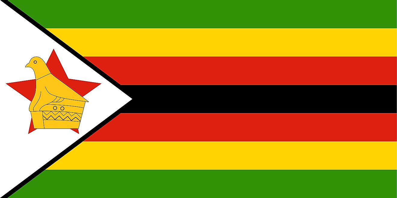 The National Flag of Zimbabwe features seven equal horizontal bands of green (top), yellow, red, black, red, yellow, and green with a white isosceles triangle edged in black with its base on the hoist side and containing a yellow Zimbabwe bird superimpose