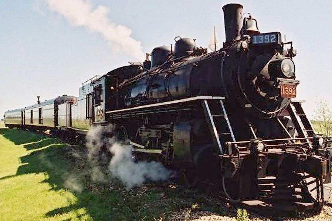 A train on exhibit at the Alberta Railway Museum. Image credit: 10Best.com