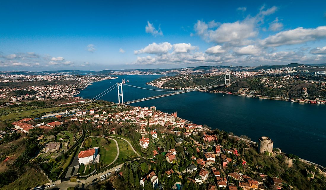 The city of Istanbul on either side of the Bosphorus Strait.