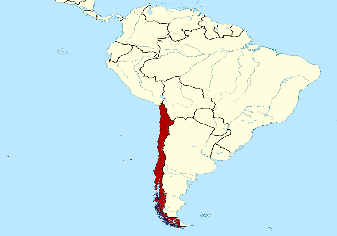 The map of Chile (marked in red).