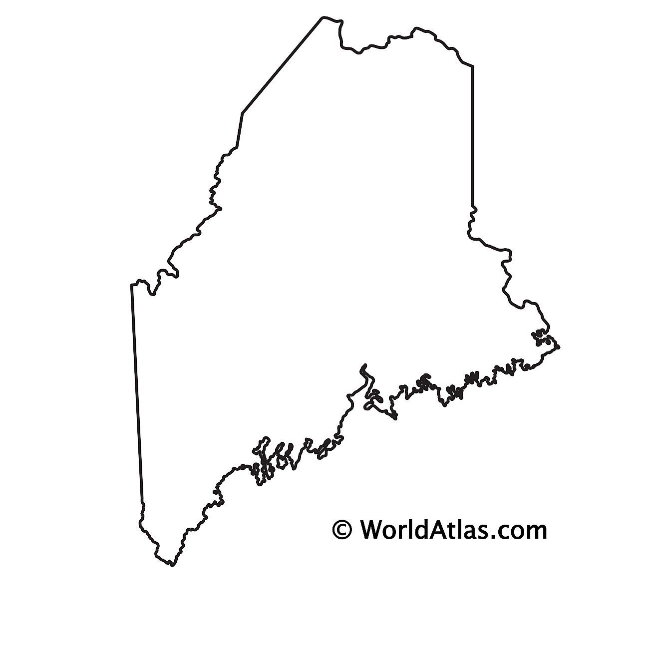 Blank Outline Map of Maine