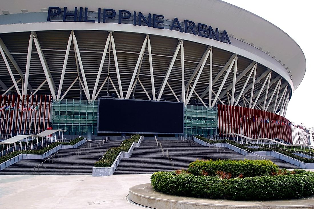The Philippine Arena, the largest indoor arena in the world by capacity​. Editorial credit: junpinzon / Shutterstock.com.