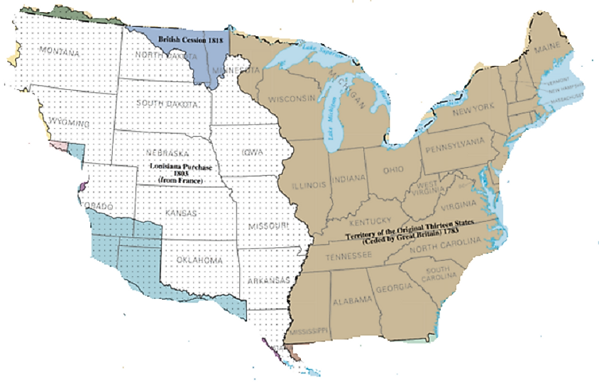 The United States before the Louisiana Purchase (brown) and thereafter (the rest of the map).