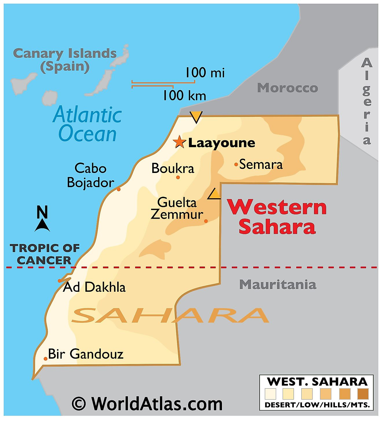 Physical Map of Western Sahara showing desert occupying most of its territory.