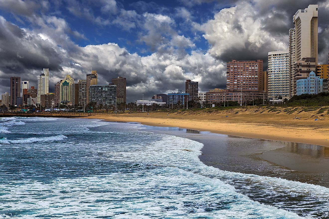 Republic of South Africa. Durban, KwaZulu-Natal. The Golden Mile - Durban's Beachfront Promenade and coastline. Image credit: WitR/Shutterstock.com