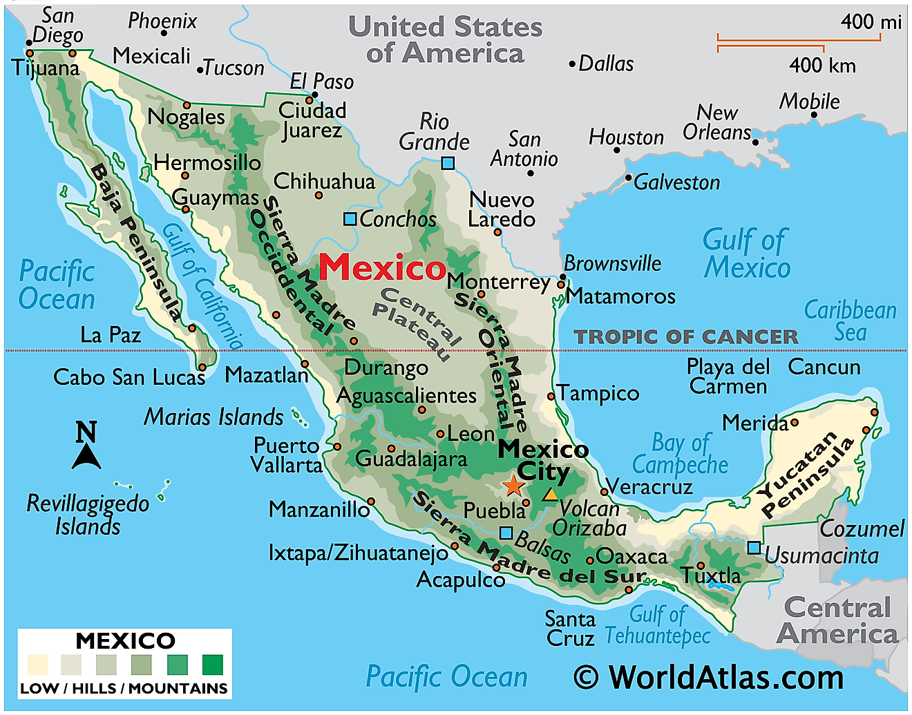 Physical Map of Mexico showing relief, major mountain ranges, the Yucatan Peninsula, Baja Peninsula, volcanoes, major cities, islands, international borders, and more.