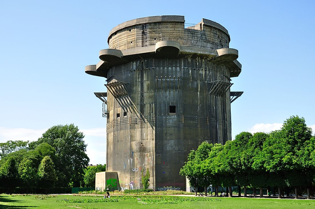 An old flak tower seen here in Vienna, Austria.
