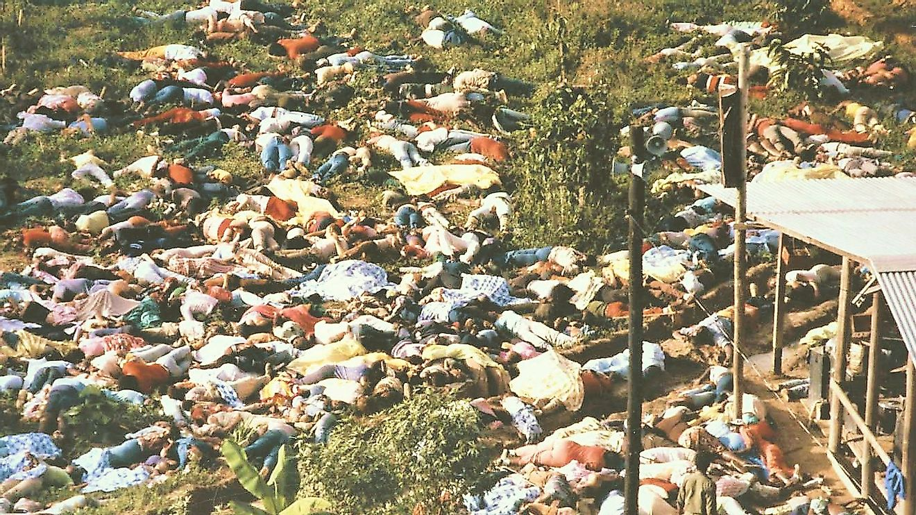 Also, know as the Jonestown massacre, this one is hard to define as only a mass suicide. Image credit: buggedspace.com