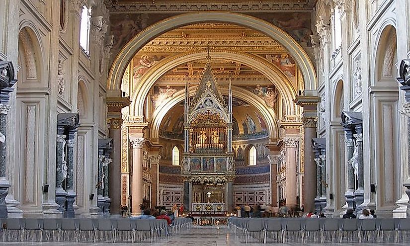 The interiors of the ​Papal Archbasilica of Saint John in Lateran.