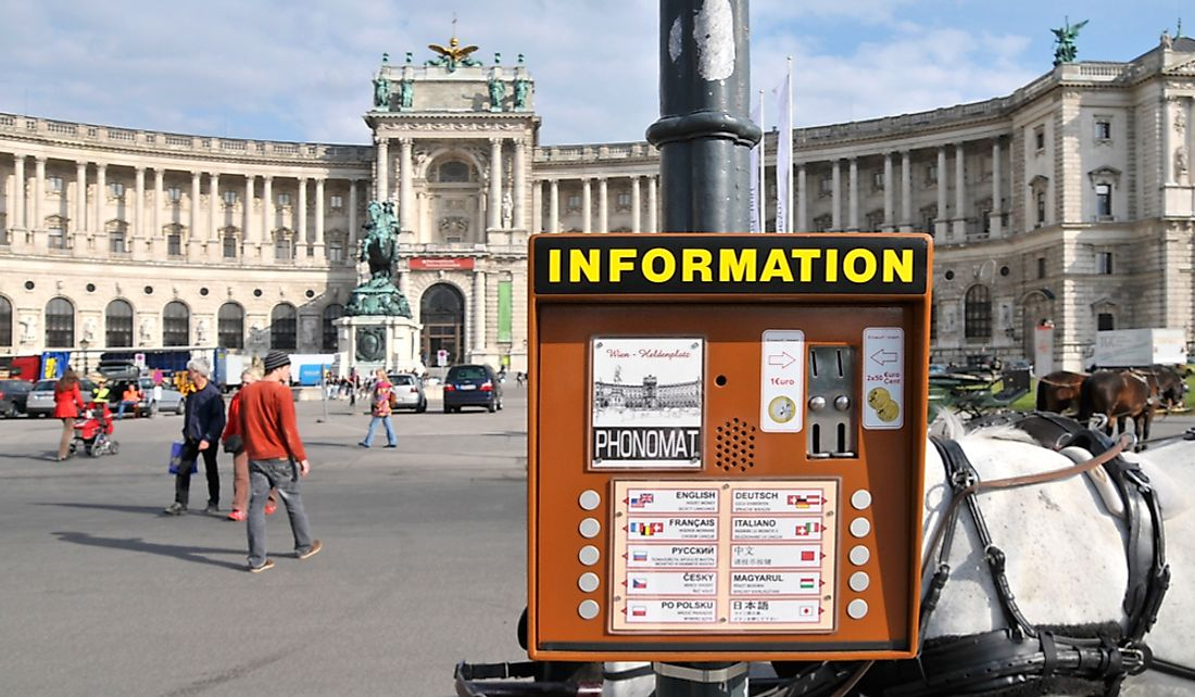 Tourist information in many languages at the Hofburg Palace in Vienna, Austria.  Editorial credit: Niradj / Shutterstock.com
