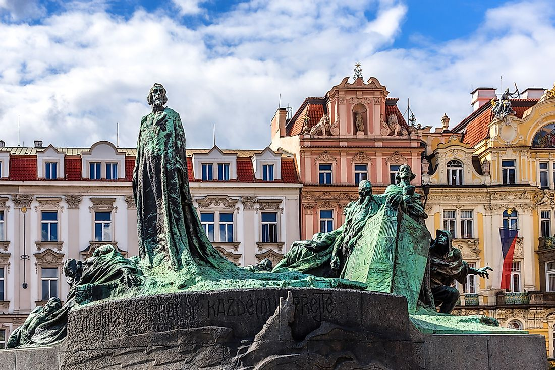 A memorial to Jan Hus in Prague, Czech Republic.