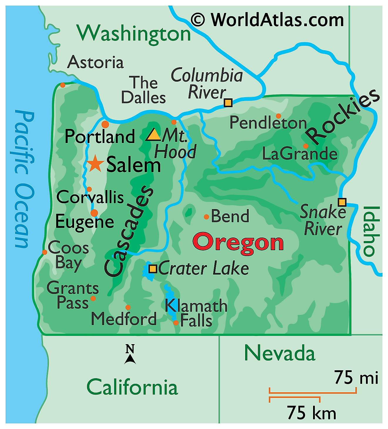 Physical Map of Oregon. It shows the physical features of Oregon including its mountain ranges, plateaus, rivers and major lakes.