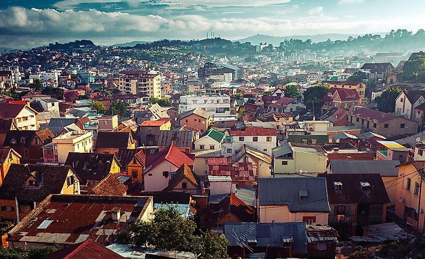 Densely populated city of Antananarivo, Madagascar.