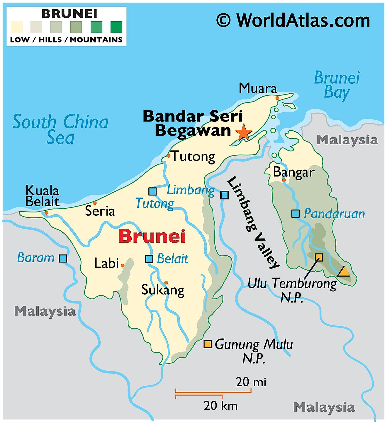 Physical Map of Brunei showing relief, major rivers, national park, South China Sea, bordering countries, major cities and towns, etc.