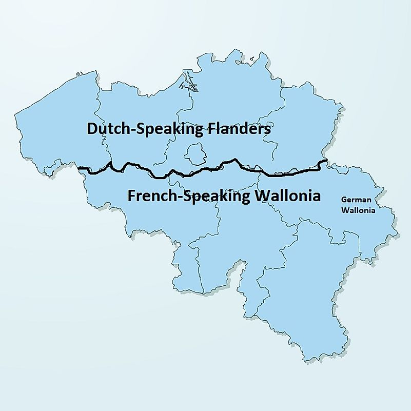 A map of Belgium illustrating Flanders in the north and Wallonia in the south.