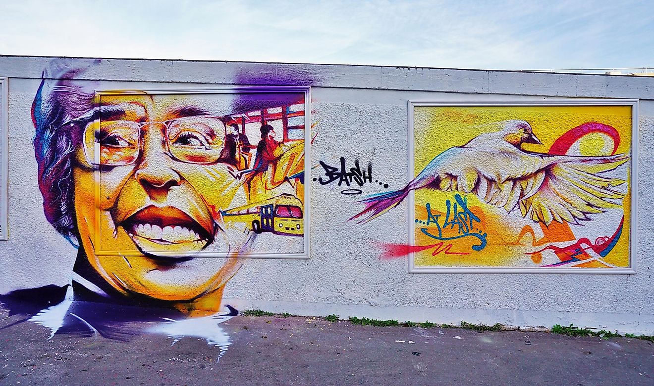 Rosa Parks Wall on Rue d Aubervilliers in Paris.