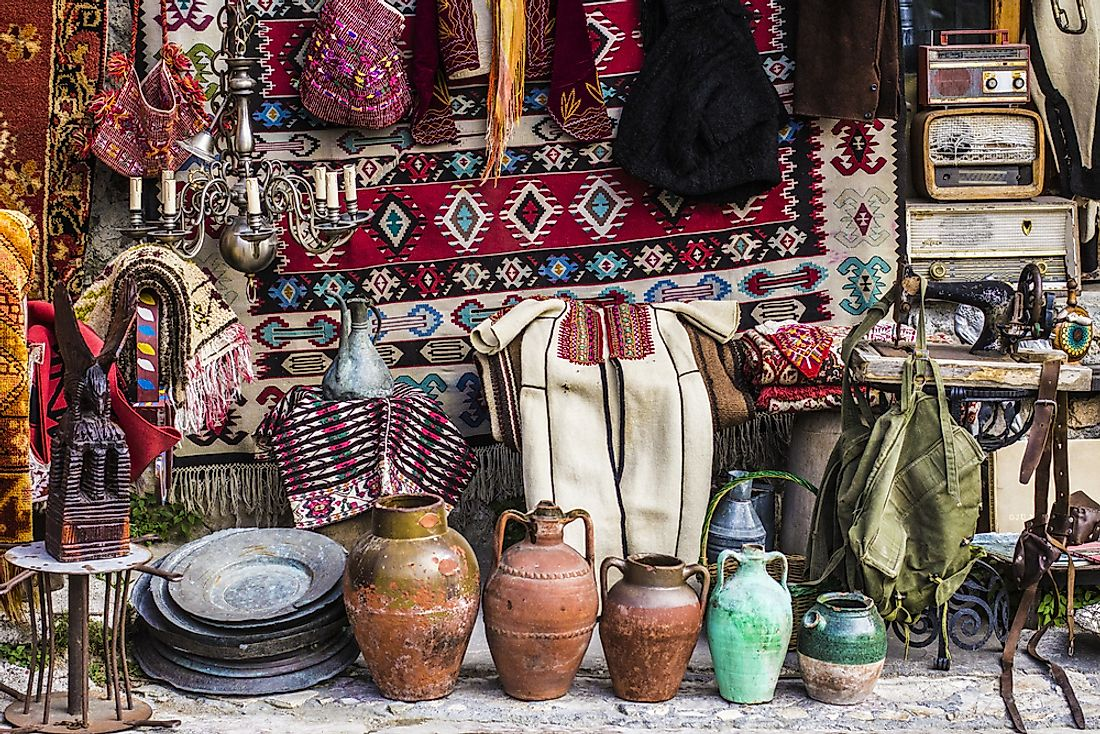 Albanian folk crafts available for sale at a market. Editorial credit: Sun_Shine / Shutterstock.com.
