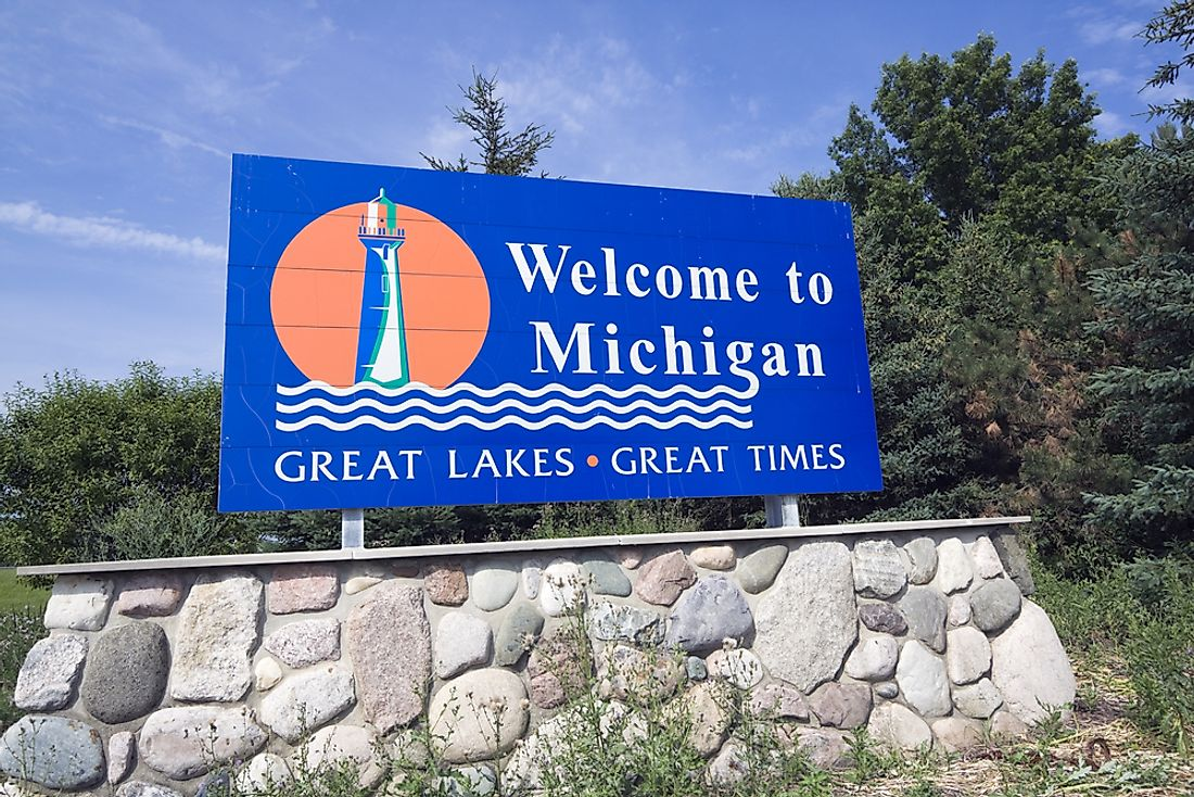 Michigan welcome sign.