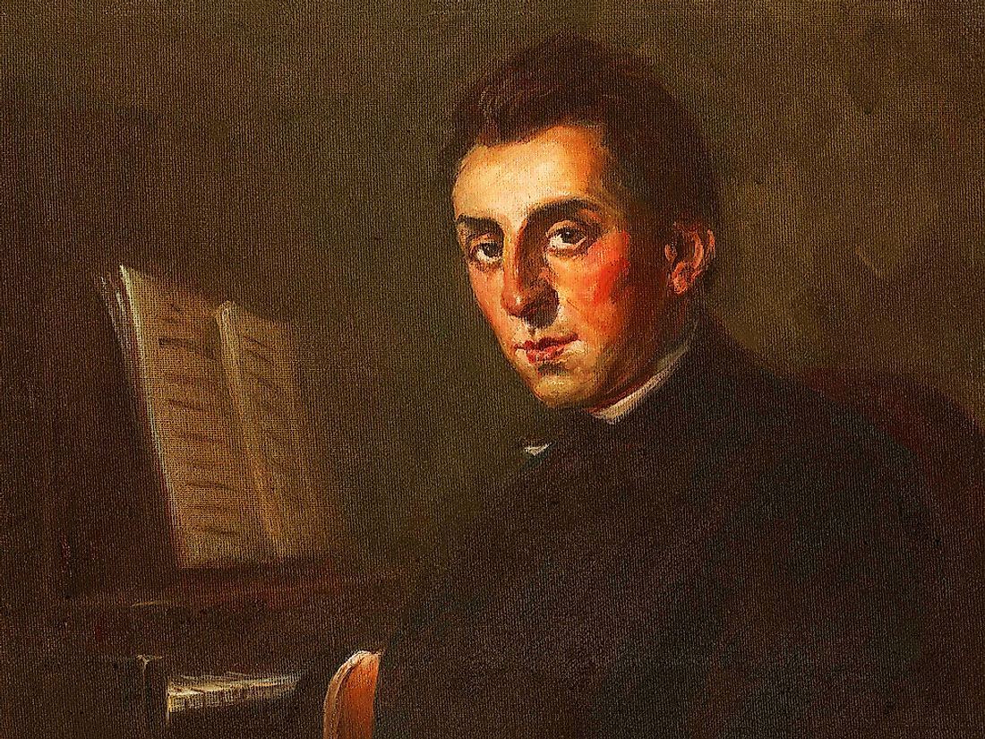 A portrait of Frederic Chopin.