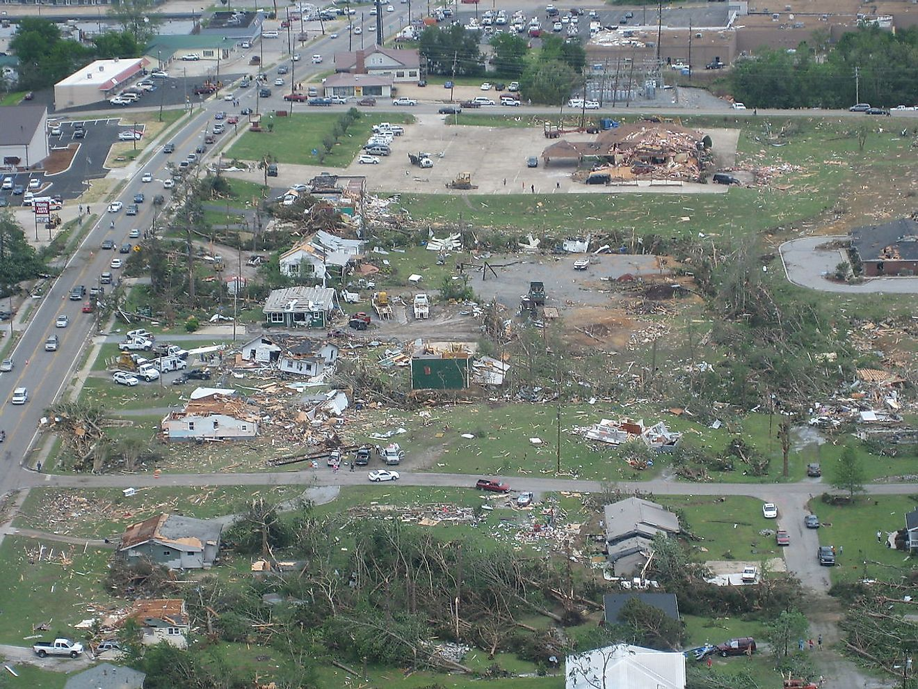 Aerial view of tornado damage in Trenton, Georgia. Image credit: NWS Peachtree City, GA/Public domain