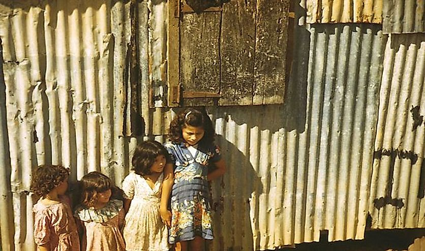 Children in a company housing settlement, 1941, in Puerto Rico.
