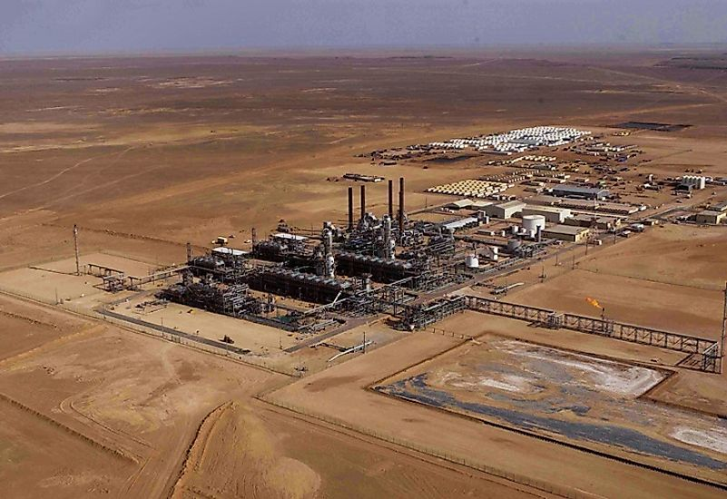 A petrochemicals processing facility sprawls out across the Algerian desert landscape.