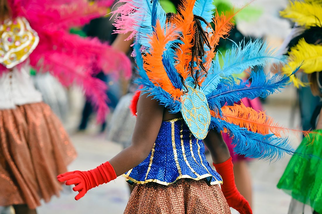 Parade participants dress in colorful feathers for the massive Rio de Janeiro carnival celebration.