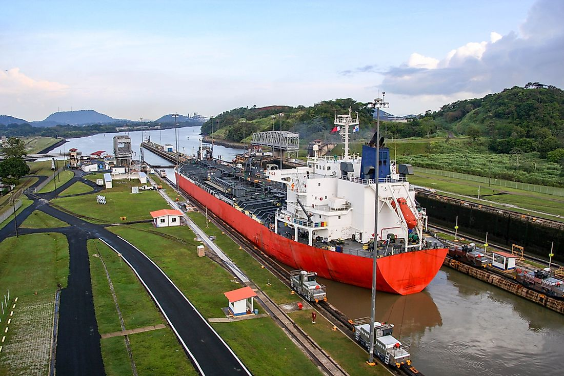A ship sits in the Panama Canal.