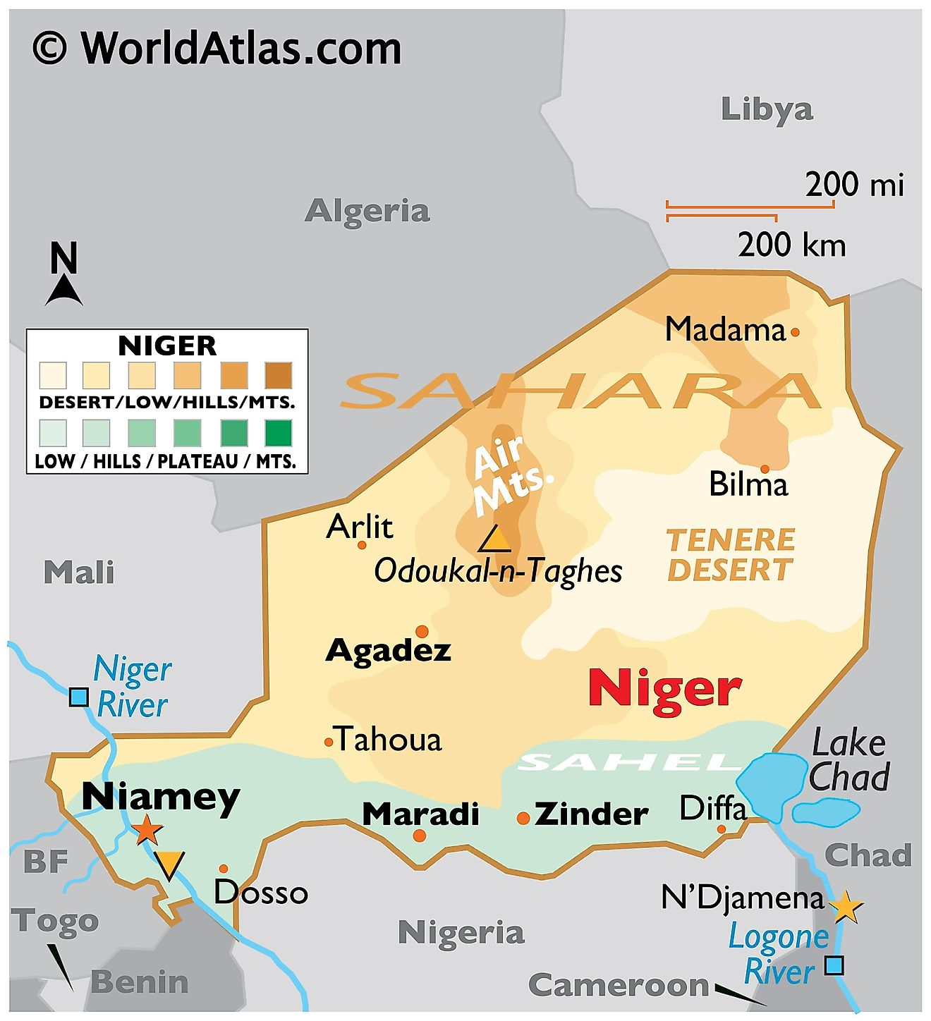 Physical Map of Niger with state boundaries. It shows the physical features of Niger with relief, major mountain peaks, rivers, lakes, major cities, etc.