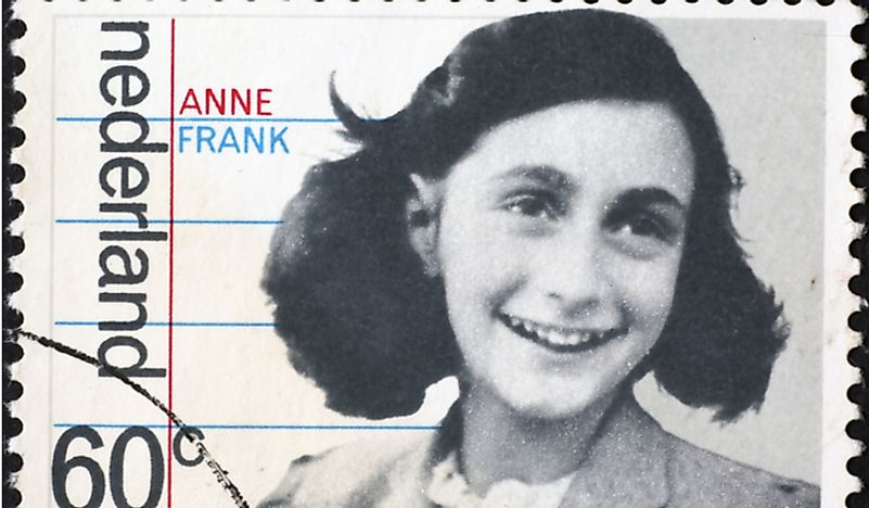 A stamp from the Netherlands featuring Anne Frank. Editorial credit: spatuletail / Shutterstock.com.