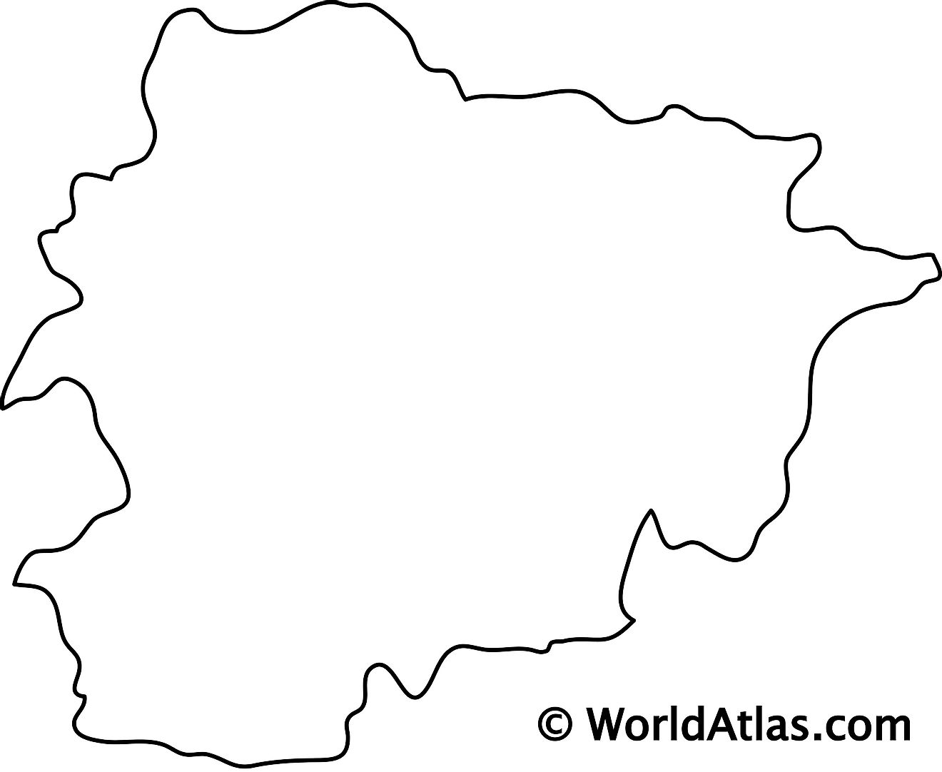 Blank Outline Map of Andorra