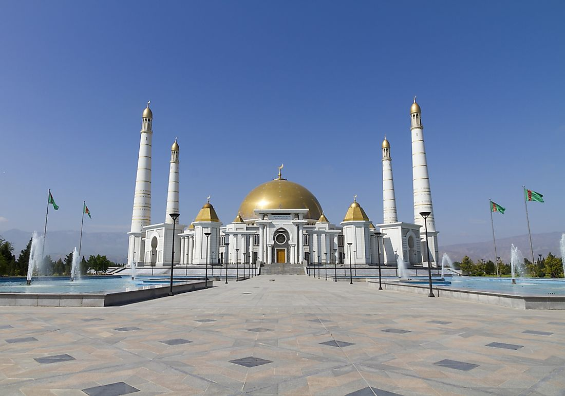 The Grand Mosque in Ashgabat, Turkmenistan.