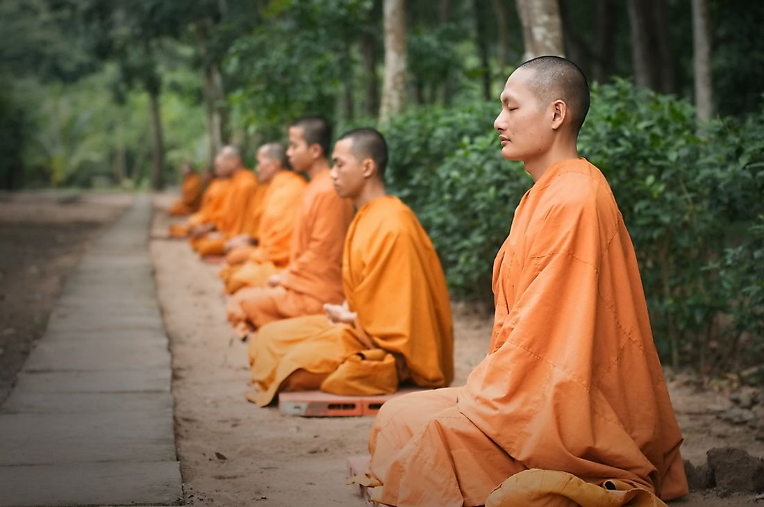 Theravada Bhikkhu meditating in Vietnam. Editorial credit: Dory F / Shutterstock.com