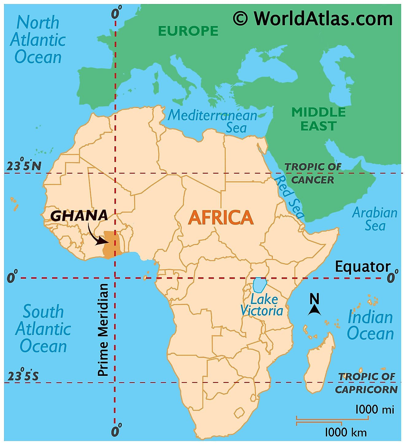 Map showing location of Ghana in the world.