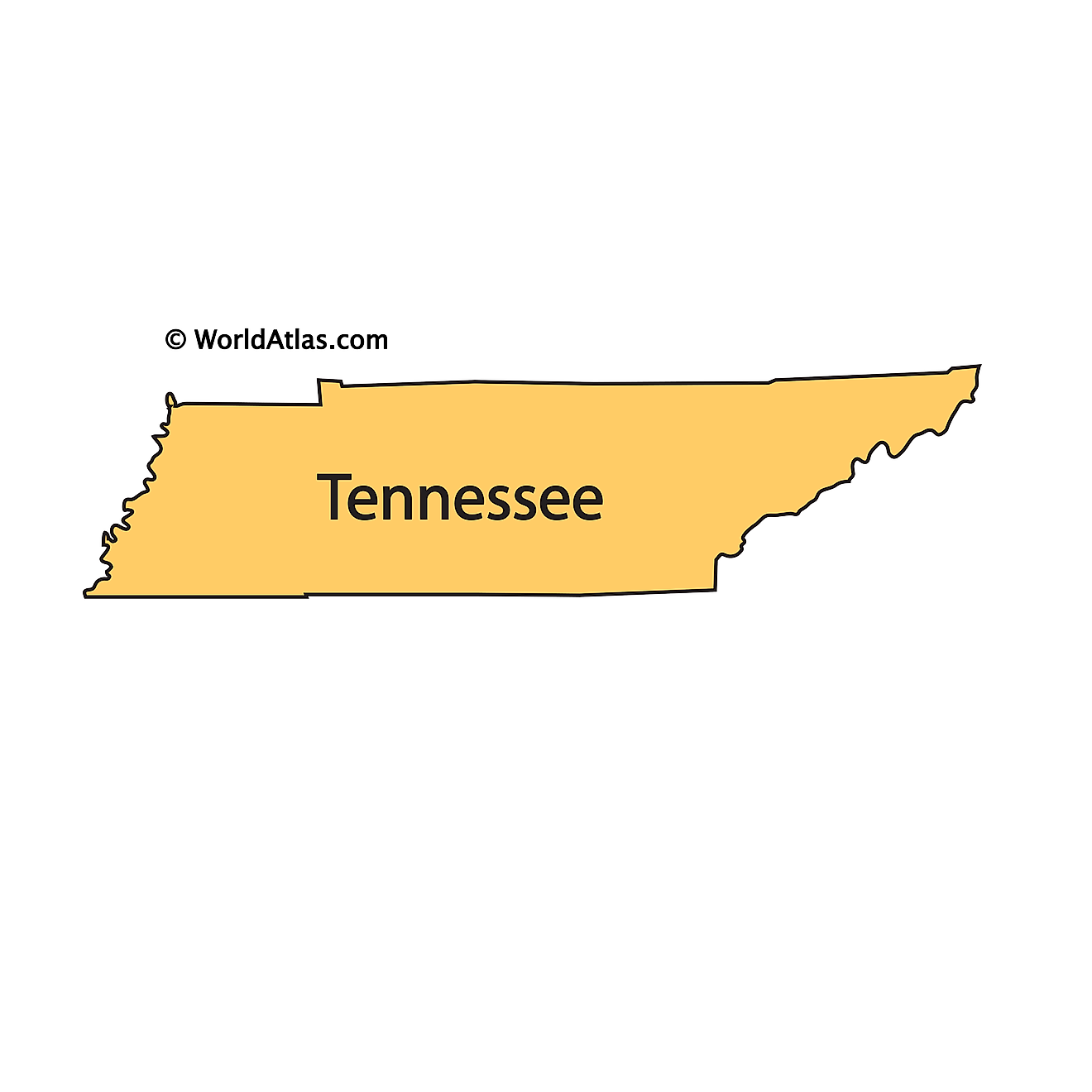 Outline Map of Tennessee