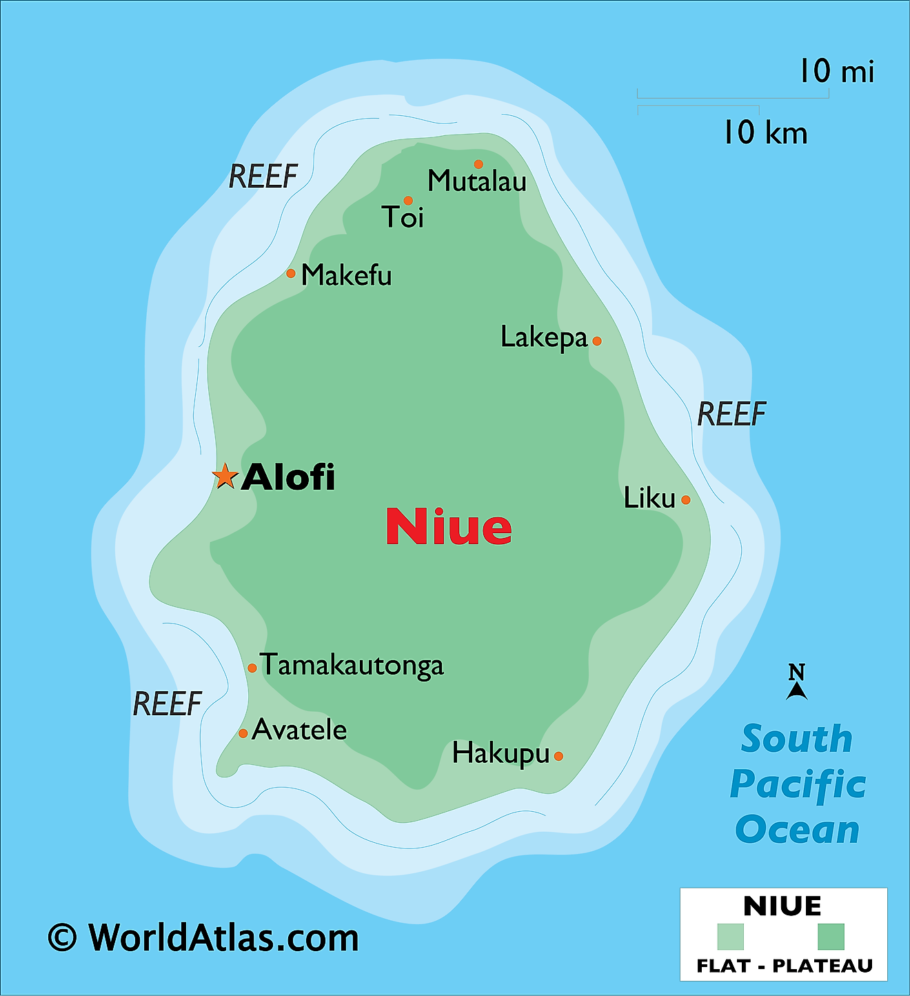 Physical Map of Niue showing relief, important settlements, etc.