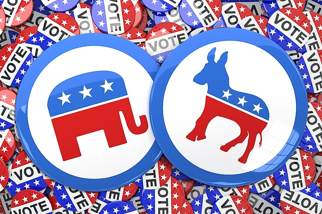 The Republican Party (elephant) and the Democratic Party (donkey) are the two main political parties in the US.